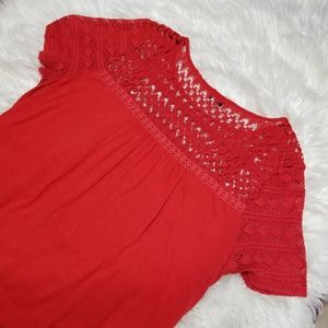 Lucky Brand Red Crochet Cotton Top Shirt XL